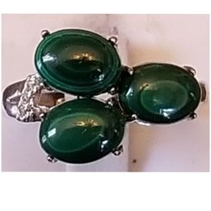 Malachite & White Sapphire Ring Size 7 to 8
